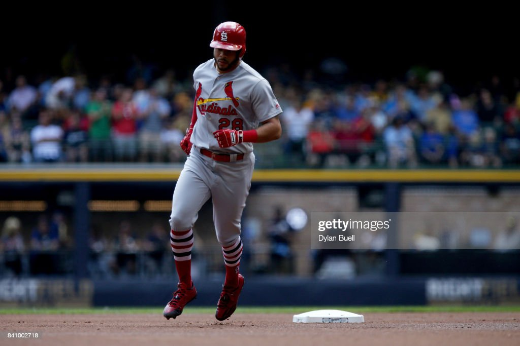 Tommy Pham #28 of the St. Louis Cardinals rounds the bases after hitting a home run in the first inning against the Milwaukee Brewers at Miller Park on August 30, 2017 in Milwaukee, Wisconsin.