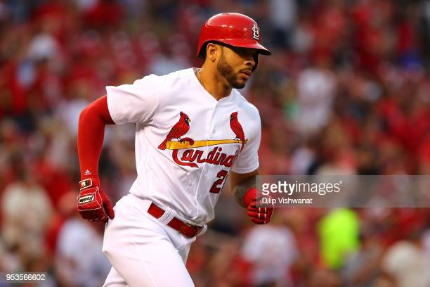 Tommy Pham of the St Louis Cardinals rounds the bases after hitting a home run against the Chicago White Sox in the first inning at Busch Stadium on...
