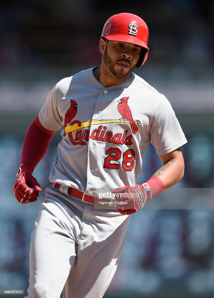 Tommy Pham #28 of the St. Louis Cardinals rounds the bases after hitting a solo home run against the St. Louis Cardinals during the eighth inning of the interleague game on May 16, 2018 at Target Field in Minneapolis, Minnesota. The Cardinals defeated the Twins 7-5.
