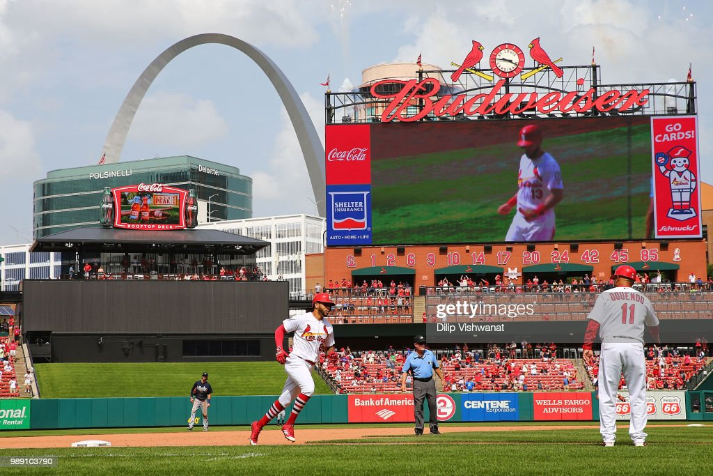 Tommy Pham #28 of the St. Louis Cardinals rounds the bases after hitting a two-run home run against the Atlanta Braves in the seventh inning at Busch Stadium on July 1, 2018 in St. Louis, Missouri.