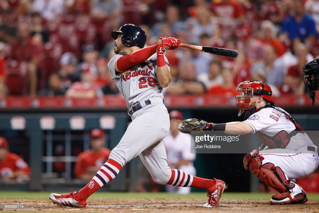 Tommy Pham #28 of the St. Louis Cardinals singles to right field to drive in a run in the sixth inning of a game against the Cincinnati Reds at Great American Ball Park on September 20, 2017 in Cincinnati, Ohio. The Cardinals won 9-2.