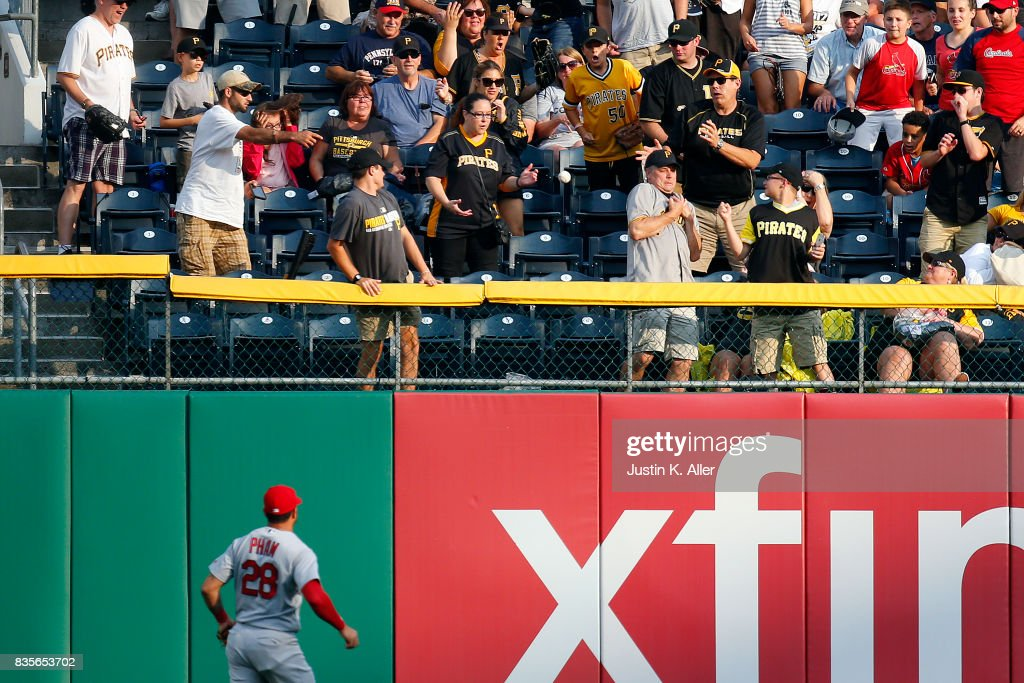 Tommy Pham #28 of the St. Louis Cardinals watches a home run leave the field in the second inning against the Pittsburgh Pirates at PNC Park on August 19, 2017 in Pittsburgh, Pennsylvania.