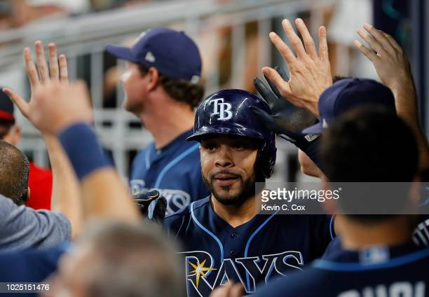 Tommy Pham of the Tampa Bay Rays reacts after hitting a tworun homer in the fourth inning against the Atlanta Braves at SunTrust Park on August 29...