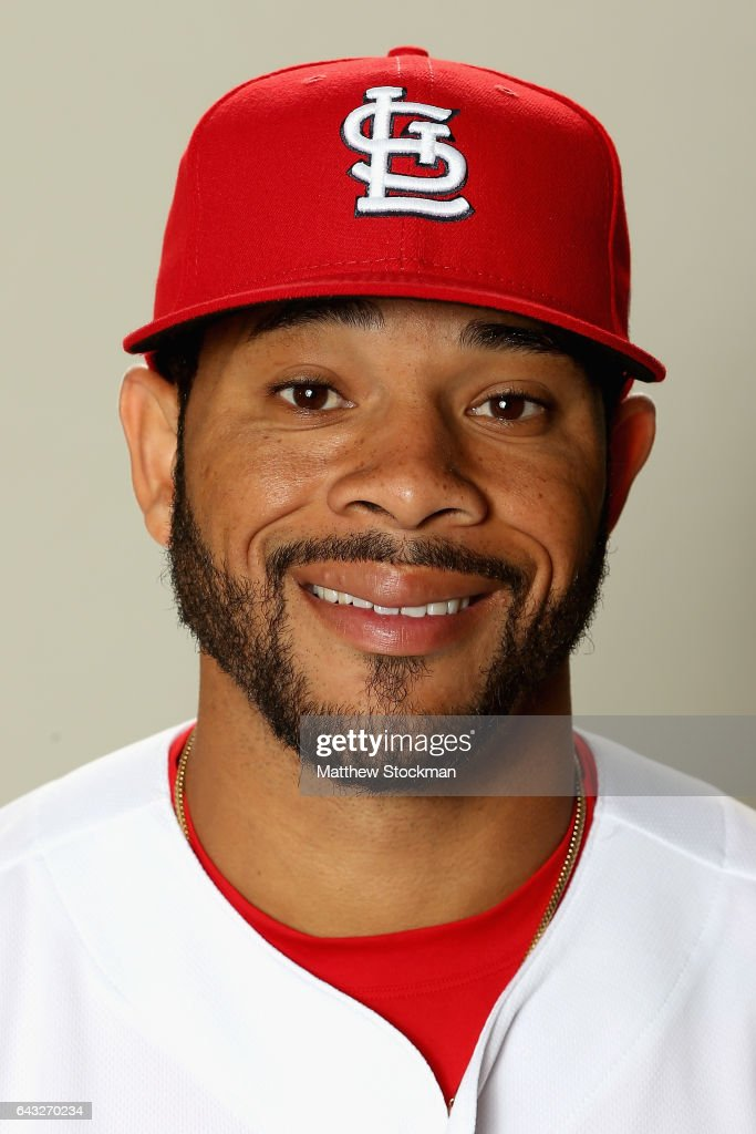 Tommy Pham #28 poses for a portrait during St Louis Cardinals Photo Day at Roger Dean Stadium on February 20, 2017 in Jupiter, Florida.