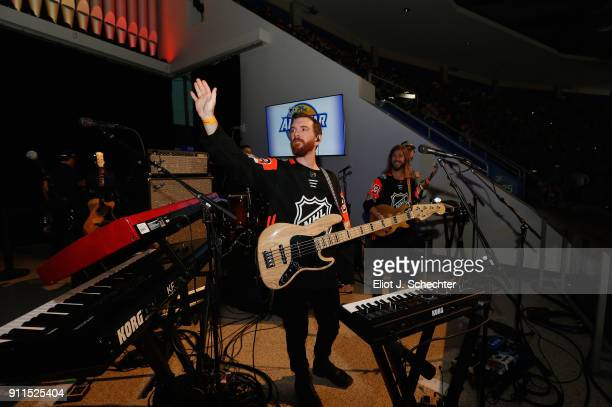 Tommy Putnam of the band Moon Taxi performs during the 2018 Honda NHL AllStar Game at Amalie Arena on January 28 2018 in Tampa Florida