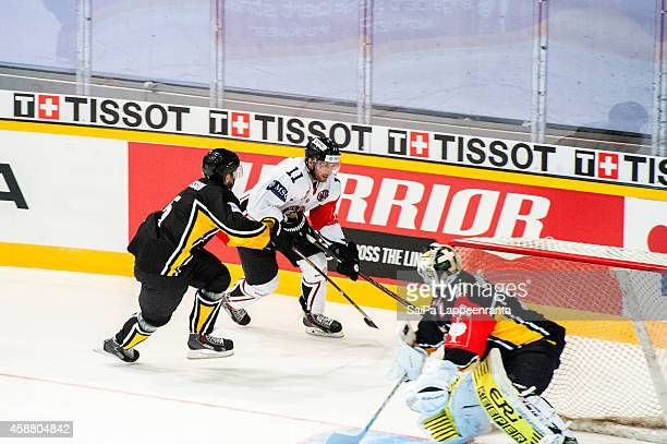 Tommy Pyatt of Geneve Servette during the Champions Hockey League round of 16 second leg game between SaiPa Lappeenranta and Geneve-Servette at...