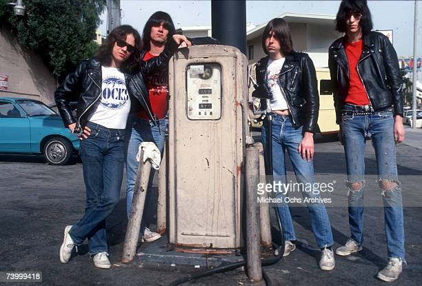 Tommy Ramone Dee Dee Ramone Johnny Ramone and Joey Ramone of the rock and roll band The Ramones pose for a portrait holding letters that spell out...