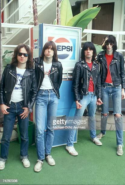 Tommy Ramone Johnny Ramone Dee Dee Ramone and Joey Ramone of the rock and roll band 'The Ramones' pose for a portrait holding letters that spell out...