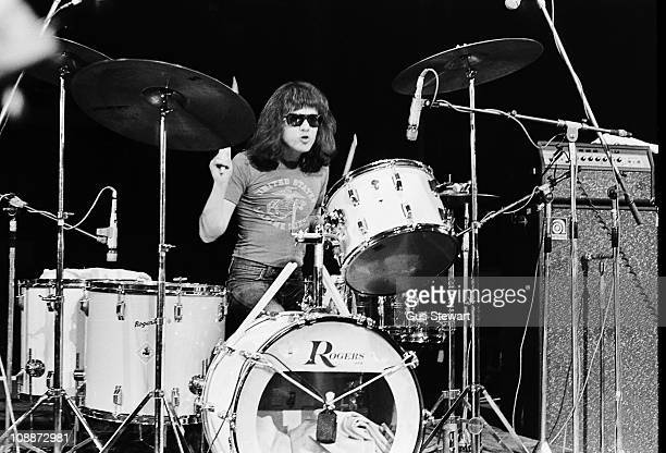 Tommy Ramone performs on stage with The Ramones at The Roundhouse in London on 4th July 1976.