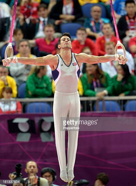 Tommy Ramos of Puerto Rico during the Men's Rings Final on Day 10 of the London 2012 Olympic Games at North Greenwich Arena on August 6 2012 in...