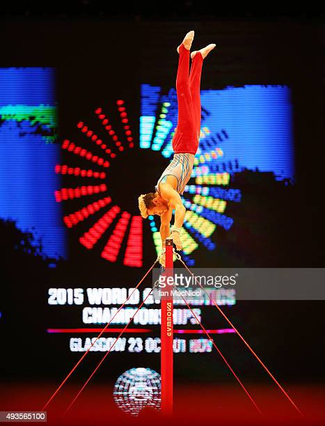 Tommy Ramos of Puerto Rico practises on the High Bar during the 2015 World Artistic Gymnastics Championships Media Session at The SSE Hydro on...