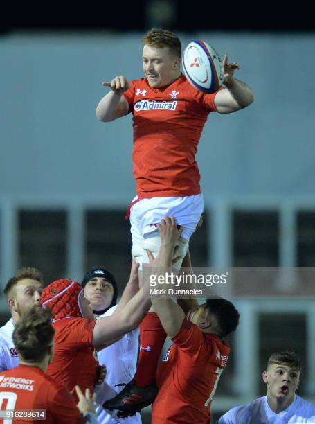 Tommy Reffell of Wales takes the ball in the air from a line out during the RBS Under 20's Six Nations match between England U20 and Wales U20 at...