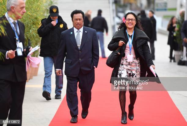 Tommy Remengesau President of Palau arrives to attend a session of the UN conference on climate change on November 15 2017 in Bonn western Germany /...