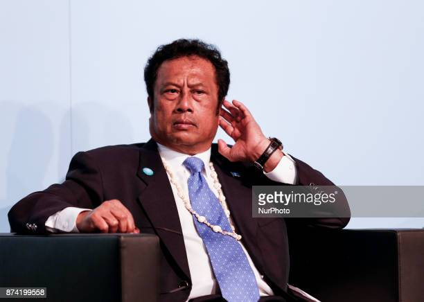 Tommy Remengesau President of Palau at the Marrakesh Partnership panel at the COP23 Fiji conference in Bonn Germany on the 14th of November 2017...