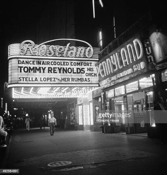 Tommy Reynolds and His Orchestra and Stella Lopez and Her Rumbas are advertised at the Roseland Ballroom at 1658 Broadway New York City USA 1948 The...