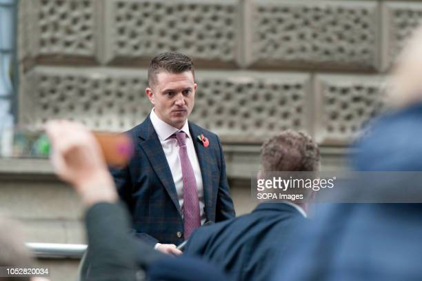 Tommy Robinson finishing to speak to his supporters The rightwing leader whose real name is Stephen YaxleyLennon was released in August on appeal...