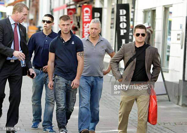 Tommy Robinson leader of the farright English Defence League walks in Stockholm on August 4 2012 to the site where a suicide bomb attack took place...