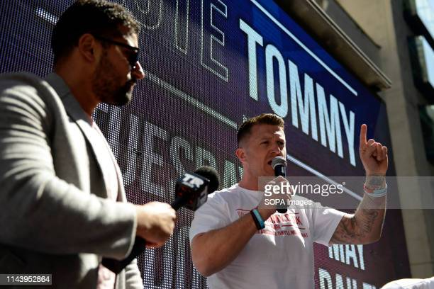 Tommy Robinson seen addressing his supporters after the hearing The rightwing leader Tommy Robinson whose real name is Stephen YaxleyLennon attended...