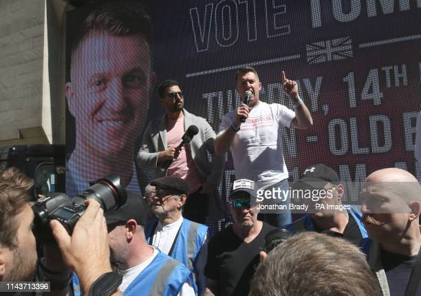 Tommy Robinson speaks to supporters and media outside the Old Bailey in the City of London ahead of the latest stage of a case against the former EDL...
