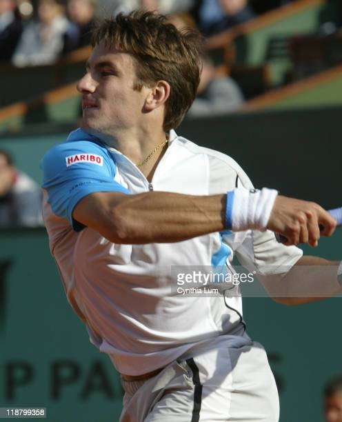 Tommy Robredo during his fourth round match against Marat Safin at the 2005 French Open at Roland Garros in Paris France on May 30 2005