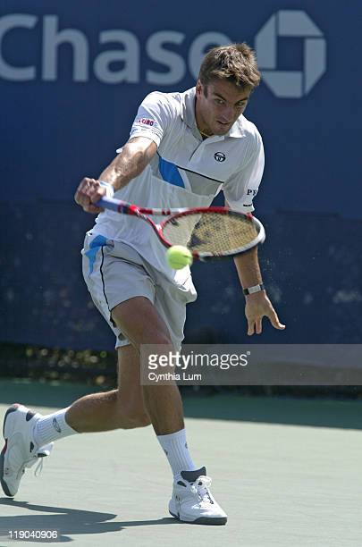 Tommy Robredo during his match against Gustavo Kuerten in the second round of the 2005 US Open at the USTA National Tennis Center in Flushing, New...