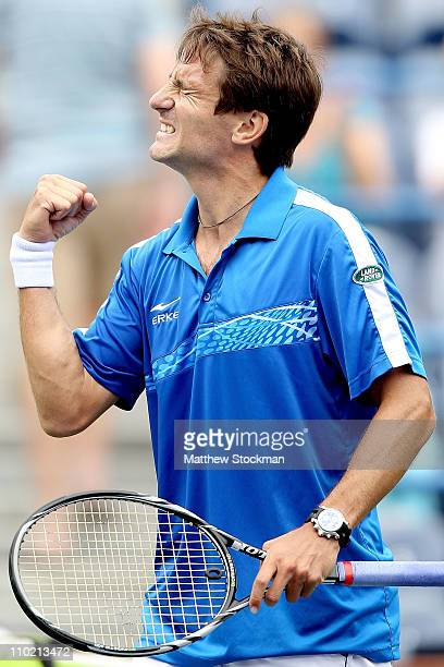 Tommy Robredo of Spain celebrates his win over Sam Querrey during the BNP Paribas Open at the Indian Wells Tennis Garden on March 16, 2011 in Indian...