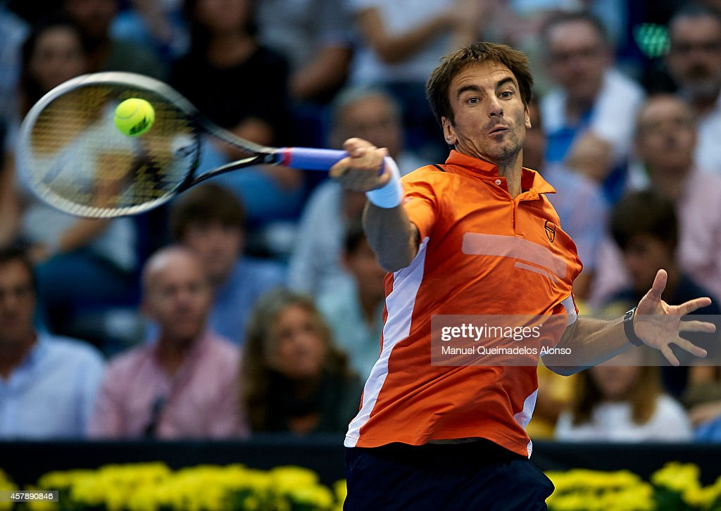 Tommy Robredo of Spain in action against Andy Murray of Great Britain in the final during day seven of the ATP 500 World Tour Valencia Open tennis tournament at the Ciudad de las Artes y las Ciencias on October 26, 2014 in Valencia, Spain.