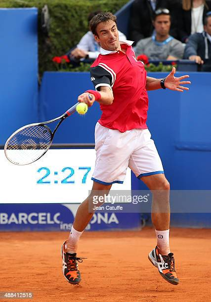 Tommy Robredo of Spain in action against Marin Cilic of Croatia during day four of the ATP Tour Open Banc Sabadell Barcelona 2014 62nd Trofeo Conde...