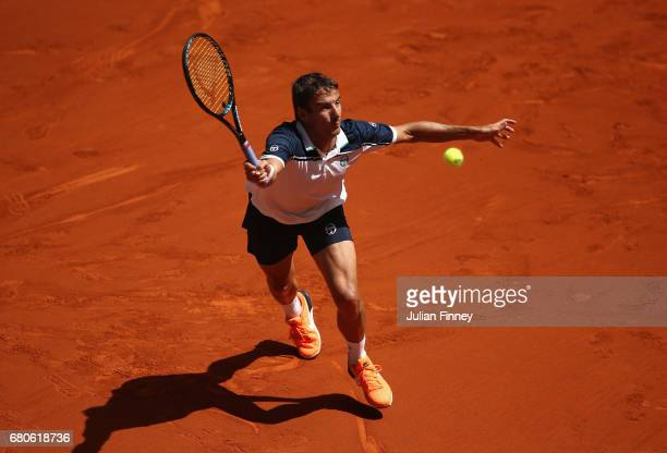 Tommy Robredo of Spain in action against Nicolas Almagro of Spain during day four of the Mutua Madrid Open tennis at La Caja Magica on May 9 2017 in...