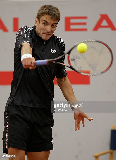 Tommy Robredo of Spain is shown in action during his semifinal match against Kristof Vliegen of Belgium at the Barcelona Seat Godo Open Tennis...