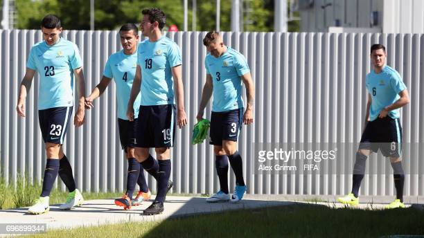 Tommy Rogic Tim Cahill Ryan McGowan Alex Gersbach and Dylan McGowan arrive for an Australia training session ahead of the FIFA Confederations Cup...