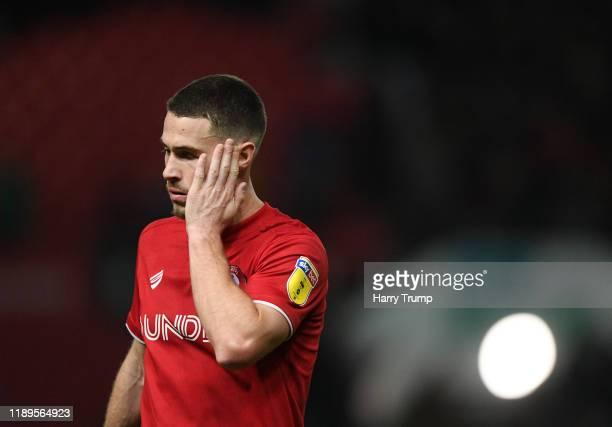 Tommy Rowe of Bristol City reacts at the final whistle during the Sky Bet Championship match between Bristol City and Nottingham Forest at Ashton...