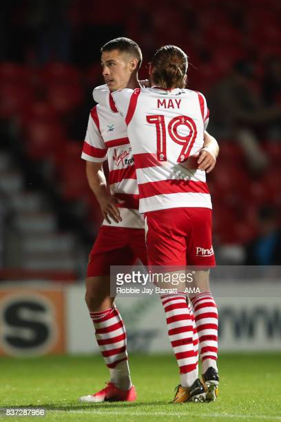 Tommy Rowe of Doncaster Rovers celebrates after scoring a goal to make it 20 during the Carabao Cup Second Round match between Doncaster Rovers and...