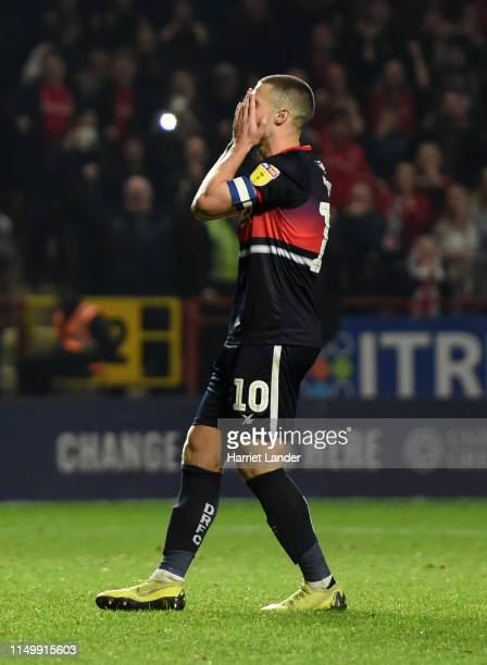 Tommy Rowe of Doncaster Rovers reacts as he misses the decisive penalty in the shoot out during the Sky Bet League One PlayOff Second Leg match...