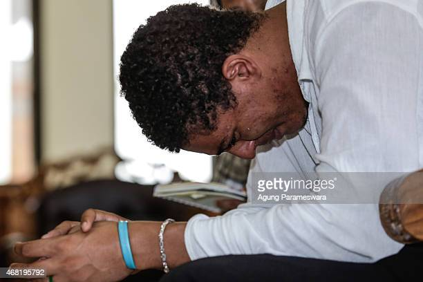 Tommy Schaefer of the US cries during his sentence demand trial in a courtroom on March 31, 2015 in Denpasar, Bali, Indonesia. Indonesian prosecutors...