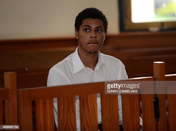 Tommy Schaefer of the US waits for his trial inside room court in Denpasar on Bali island on April 14, 2015. Indonesian prosecutors recommended...