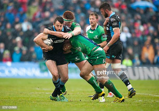 Tommy Seymour of Glasgow tackled by Sean O'Brien and Bundee Aki of Connacht during the Guinness PRO12 rugby match between Connacht Rugby and Glasgow...