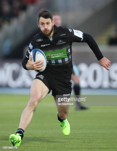 Tommy Seymour of Glasgow Warriors runs with the ball during the Champions Cup match between Glasgow Warriors and Cardiff Blues at Scotstoun Stadium...