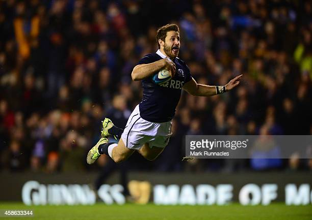 Tommy Seymour of Scotand scores a try late in the second half during the International match between Scotland and Argentina at Murrayfield Stadium on...