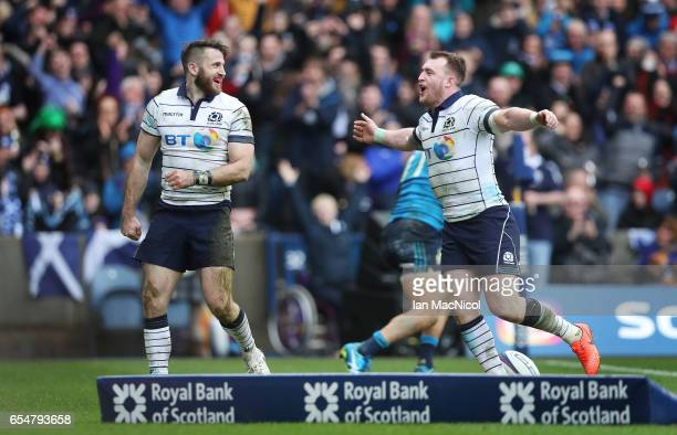 Tommy Seymour of Scotland celebrates with Stuart Hogg after he scores his teams fourth try during the RBS Six Nations Championship match between...