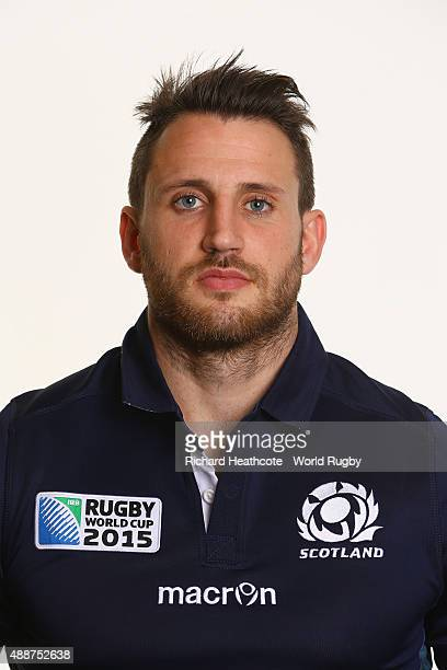 Tommy Seymour of Scotland during the Scotland Rugby World Cup 2015 squad photo call at the Hilton Puckrup Hall Hotel on September 17 2015 in...