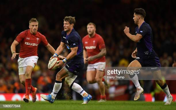 Tommy Seymour of Scotland passes the ball during the International Friendly match between Wales and Scotland at the Principality Stadium on November...