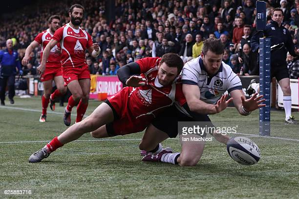 Tommy Seymour of Scotland scores his team's first try during the Autumn Test Match between Scotland and Georgia at Rugby Park on November 26 2016 in...