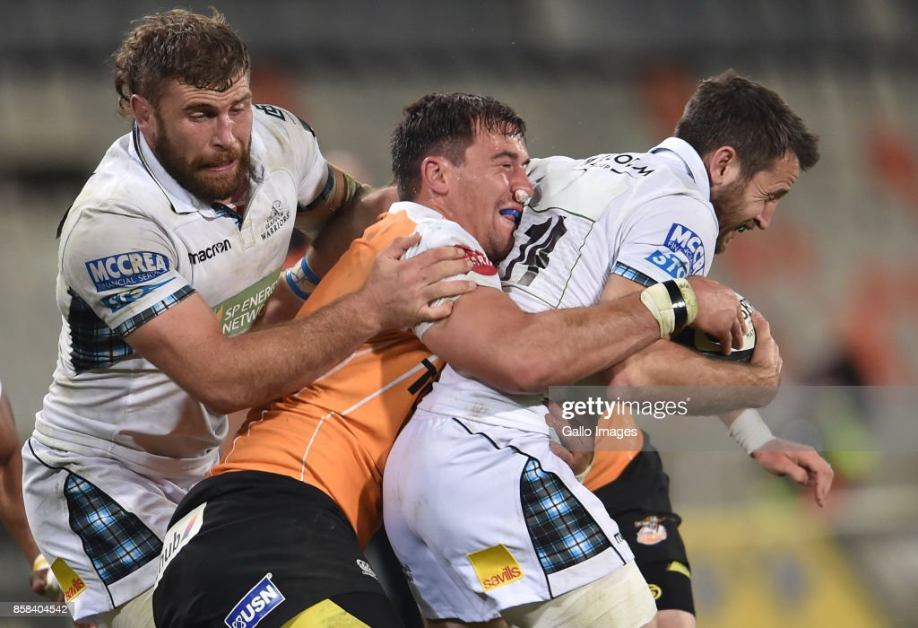 Tommy Seymour of the Glasgow Warriors and Henco Venter of the Toyota Cheetahs during the Guinness Pro14 match between Toyota Cheetahs and Glasgow Warriors at Toyota Stadium on October 06, 2017 in Bloemfontein, South Africa.