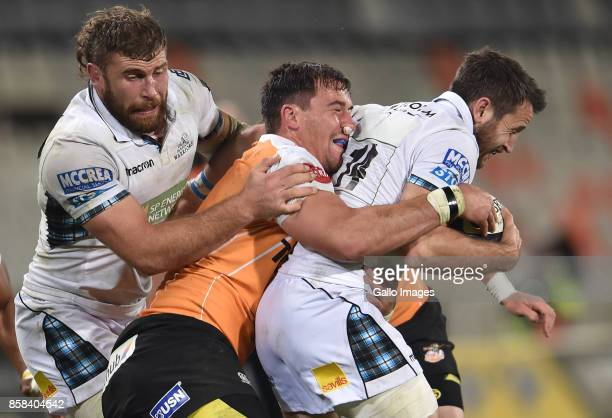 Tommy Seymour of the Glasgow Warriors and Henco Venter of the Toyota Cheetahs during the Guinness Pro14 match between Toyota Cheetahs and Glasgow...
