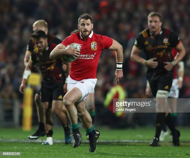 Tommy Seymour of the Lions breaks with the ball during the match between the Chiefs and the British Irish Lions at Waikato Stadium on June 20 2017 in...