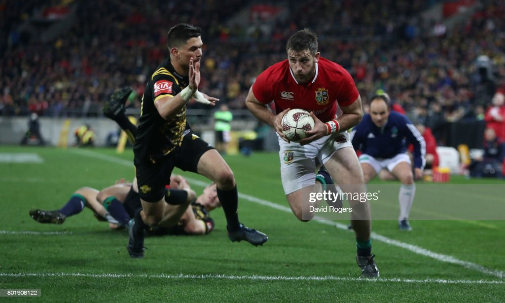 Tommy Seymour of the Lions scores his second try during the match between the Hurricanes and the British & Irish Lions at Westpac Stadium on June 27, 2017 in Wellington, New Zealand.