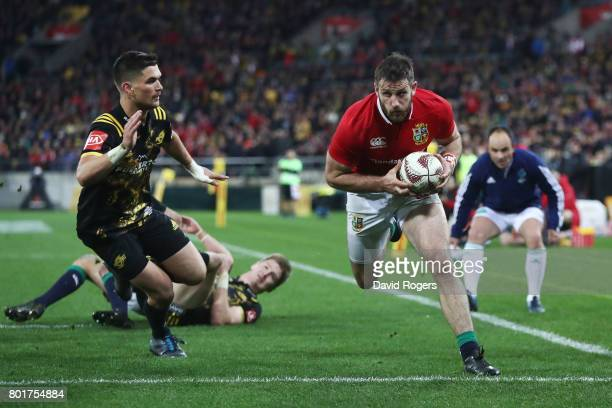 Tommy Seymour of the Lions scores his team's third try during the 2017 British Irish Lions tour match between the Hurricanes and the British Irish...