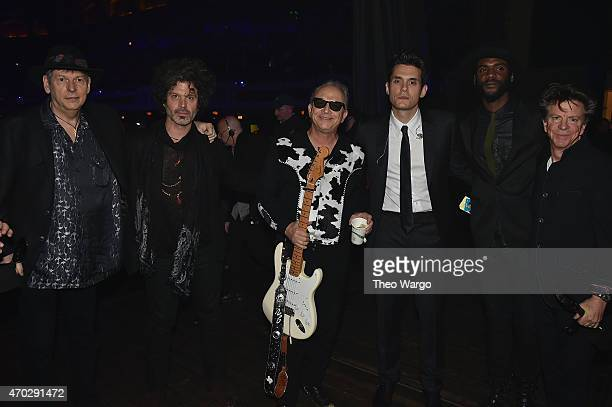Tommy Shannon Doyle Bramhall II Jimmie Vaughan John Mayer Gary Clark Jr and Chris Layton attend the 30th Annual Rock And Roll Hall Of Fame Induction...