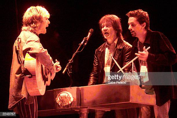 Tommy Shaw Lawrence Gowan and Todd Zuckerman of Styx rehearsing for the 'Volunteers for America' rock benefit concert at the HiFi Buys Amphitheatre...